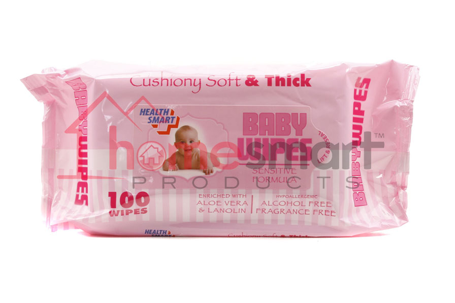 Baby Wipes 100pcs Health Smart Pink 24ct Wholesale